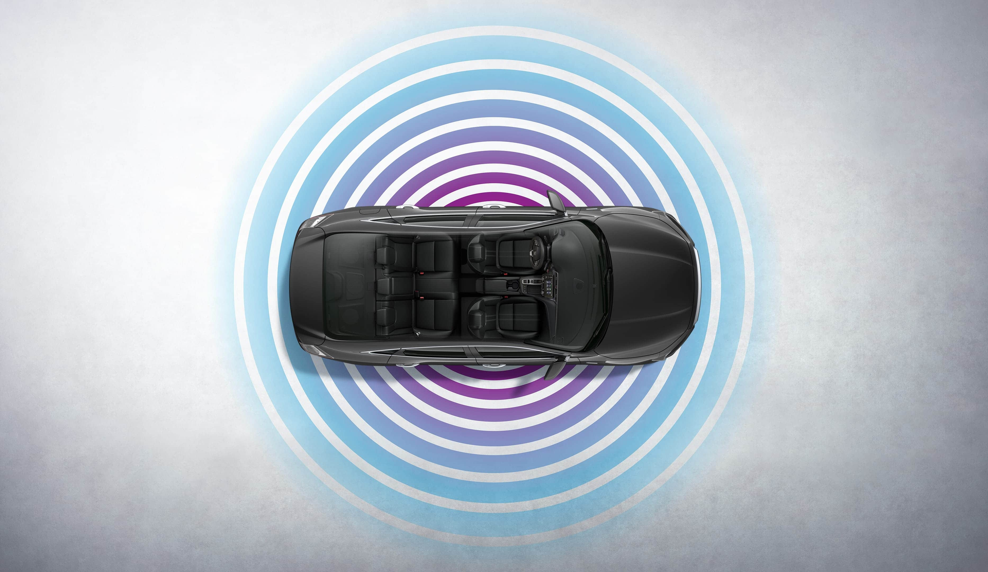 Overhead view of 2021 Honda Insight Touring in Modern Steel Metallic with Wi-Fi® graphic overlay.