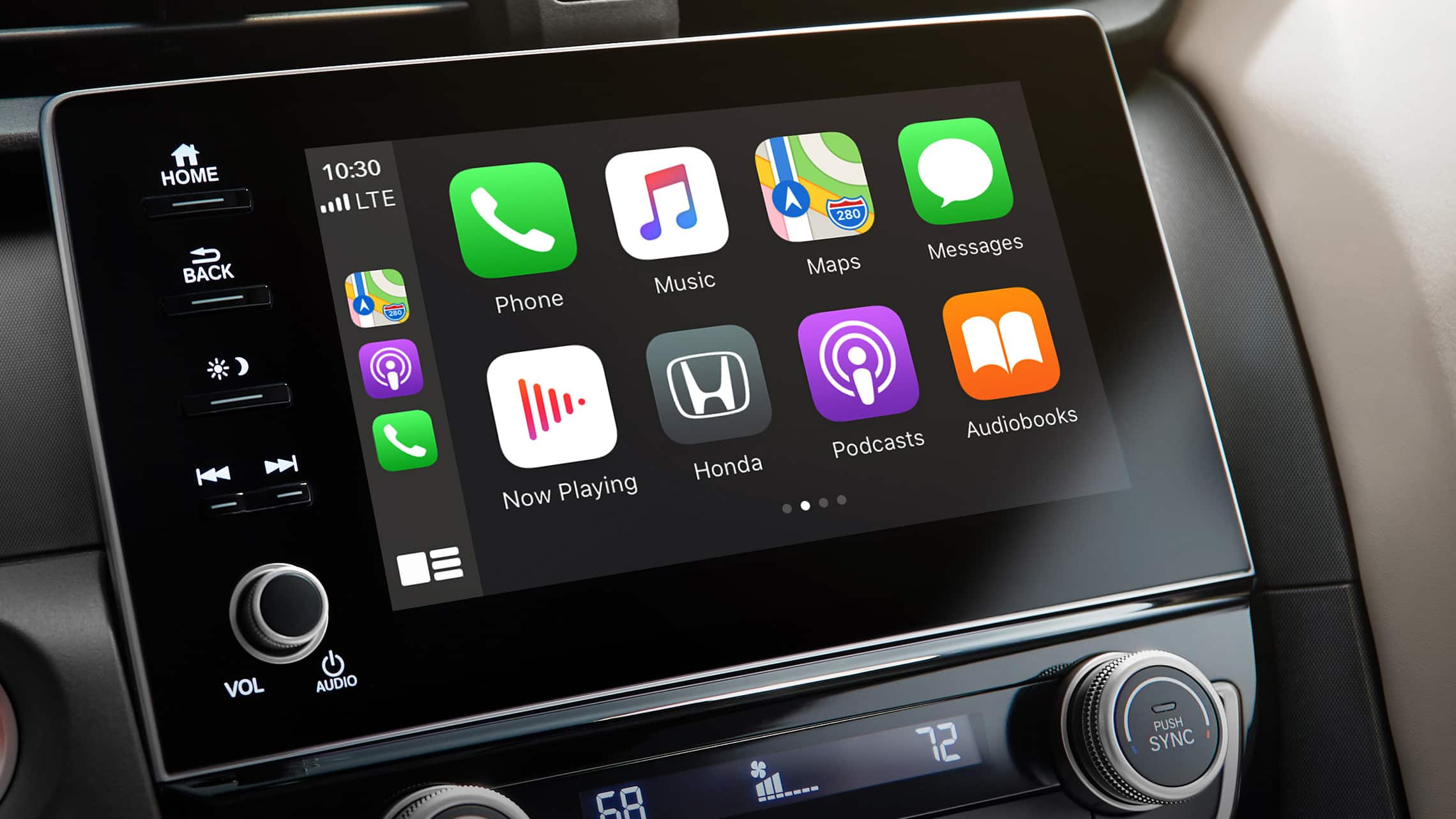 Apple CarPlay® home screen detail on the Display Audio touch-screen in the 2021 Honda Insight Touring.